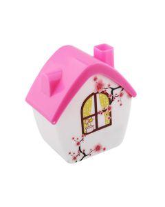 Lámpara led de noche, figura casita rosa