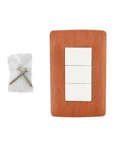Apagador triple con placa wooden