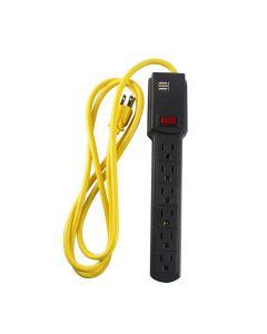 Supresor de picos 6 contactos y 2 entradas USB